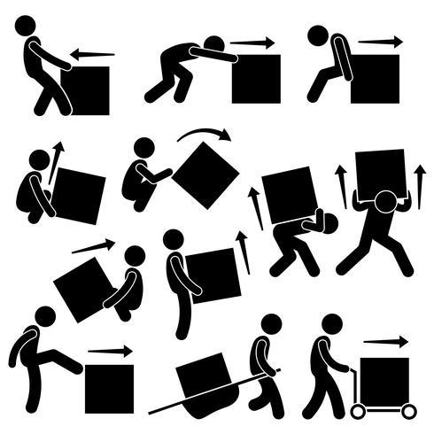 Man Flytta Box Åtgärder Ställningar Stick Figur Pictogram Ikoner. vektor