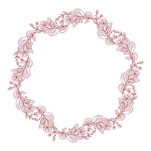 Lavendel blüht den dekorativen Kranz, der auf weißem Hintergrund, runde Rahmenhand gezeichnete Gekritzelvektorskizzenkräuterlinie Grafikdesign für Grußkarte, Einladung, Heiratsdesign, kosmetisch lokalisiert wird vektor