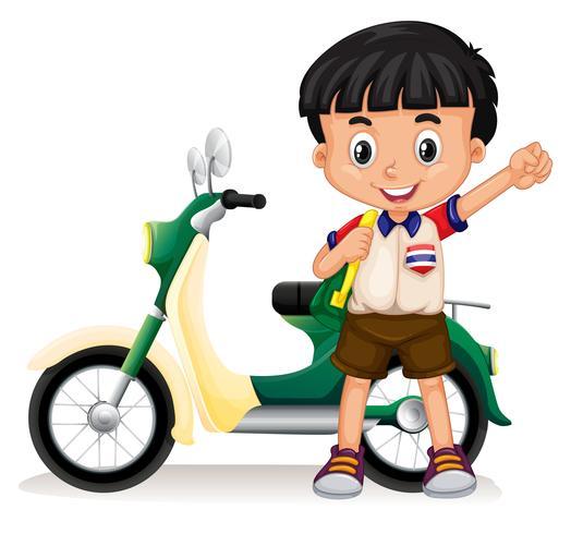 Kleiner Junge und Motorrad vektor