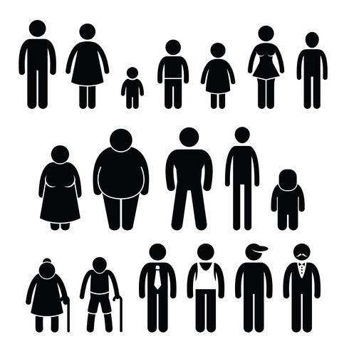 Menschen Charakter Mann Frau Kinder Alter Größe Strichmännchen Piktogramme Symbole. vektor
