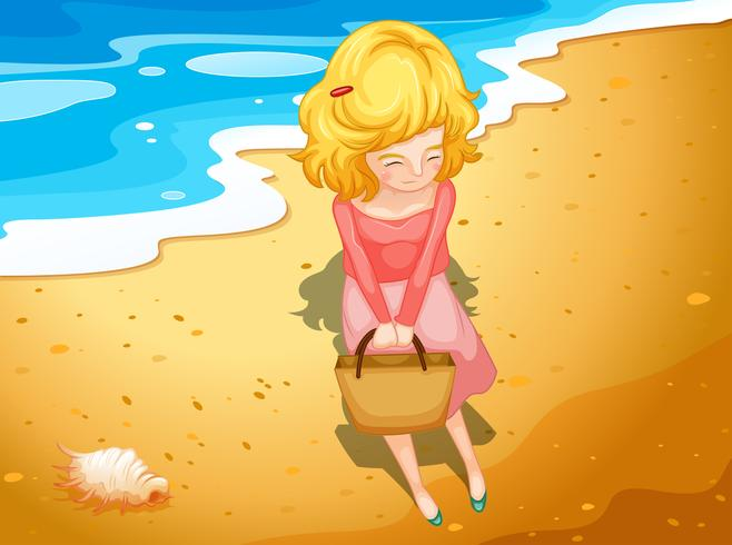 En ung dam på stranden vektor
