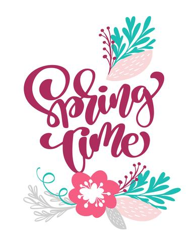 Frühlingszeit Hand gezeichneter Text und Design für Grußkarte vektor