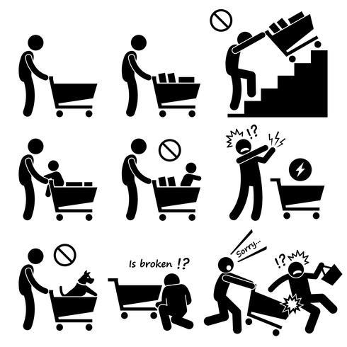 Einkaufswagen-Wagen tun und nicht. vektor