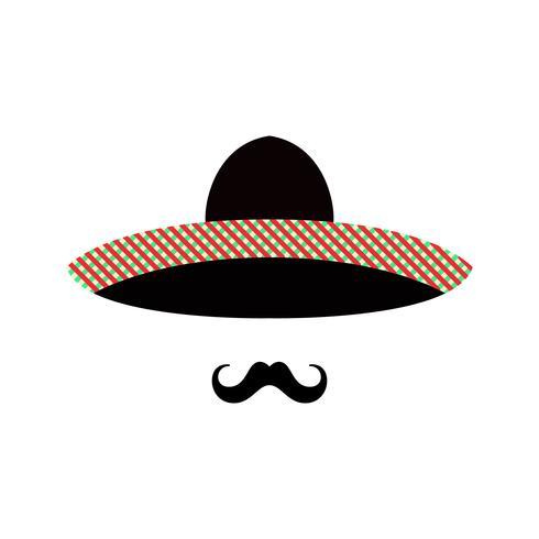 Mexikanergesicht mit Sombrero und Schnurrbart. vektor