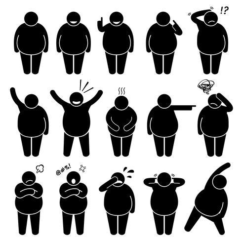 Fat Man Action Poses Inställningar Stick Figure Pictogram Ikoner. vektor