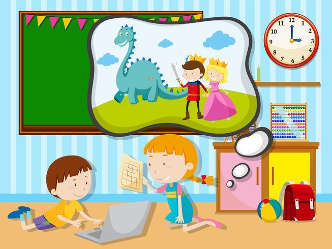 Junge und Mädchen, die im Klassenzimmer arbeiten vektor