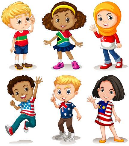 Barn från olika länder vektor