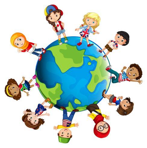 Barn från olika länder i världen vektor