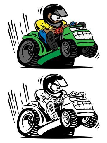 Rasenmäher-Vektorillustration der Karikatur laufend vektor