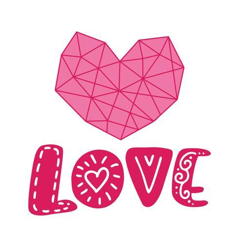 Grafisches Blumengeometrieherz und Textliebe. Vektorabbildung getrennt auf Hintergrund. Hochzeit, St. Valentinstag Dekorationen für Poster und Grußkarten vektor