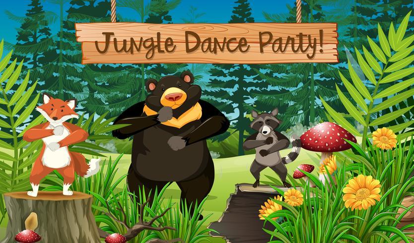 Djur och djungelsdansfest vektor