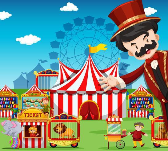 Menschen, die im Zirkus arbeiten vektor