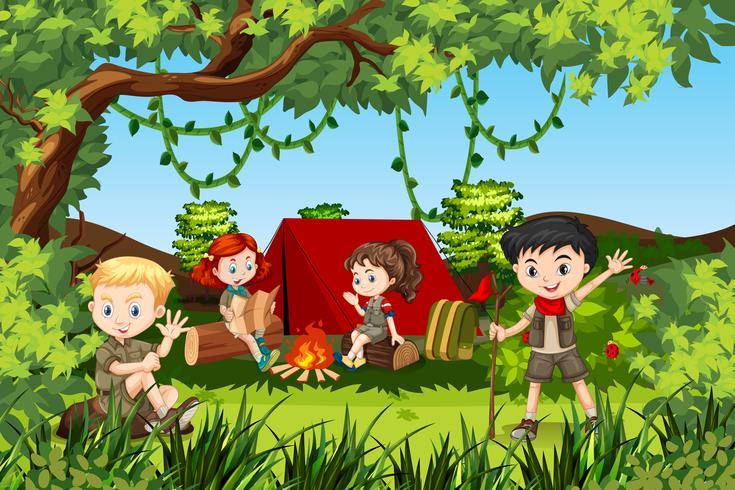 Canping barn i skogen vektor