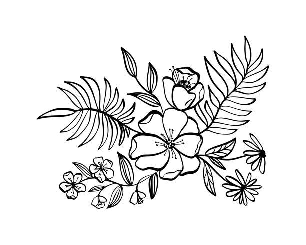 moderna blommor ritning och skiss vektor