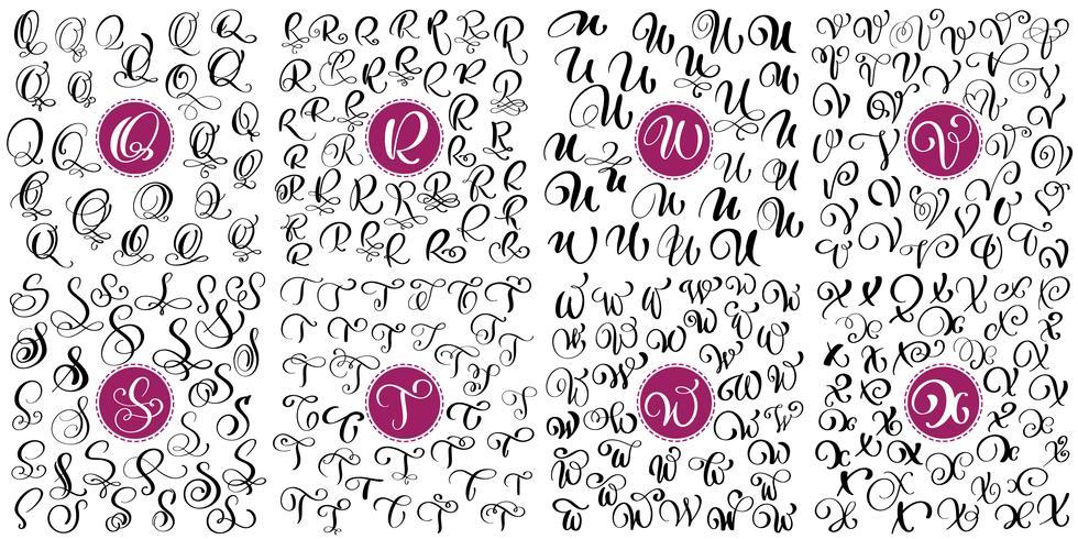 Ange bokstav Q, R, S, T, U, V, W, X Handdragen vektor blomstra kalligrafi. Skript typsnitt. Isolerade bokstäver skrivna med bläck. Handskriven penselstil. Handbokstäver för logotypemballage