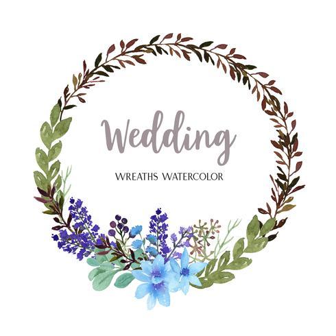 Kronor akvarellblommor handmålade med ram ram, frodiga floraler vattenfärg isolerad på vit bakgrund. Designdekor för kort, spara datum, bröllopinbjudningskort, affisch, banner. vektor