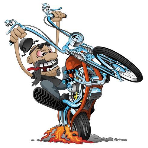 Verrückter Radfahrer auf einer alten Schulzerhackermotorradkarikatur-Vektorillustration vektor