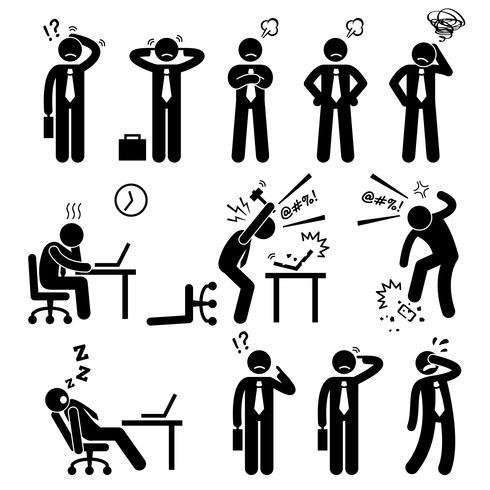 Affärsman Affärsman Stress Tryck Arbetsplats Stick Figur Pictogram Ikon. vektor