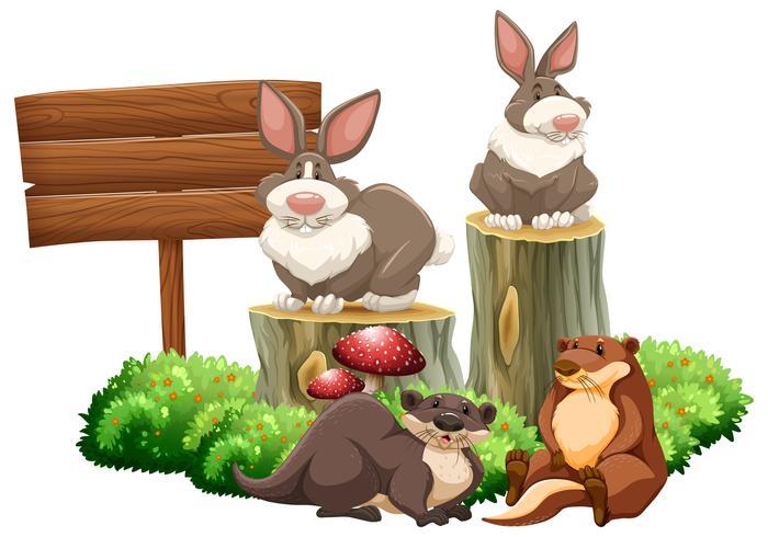 Kaninchen und Biber am Schild vektor