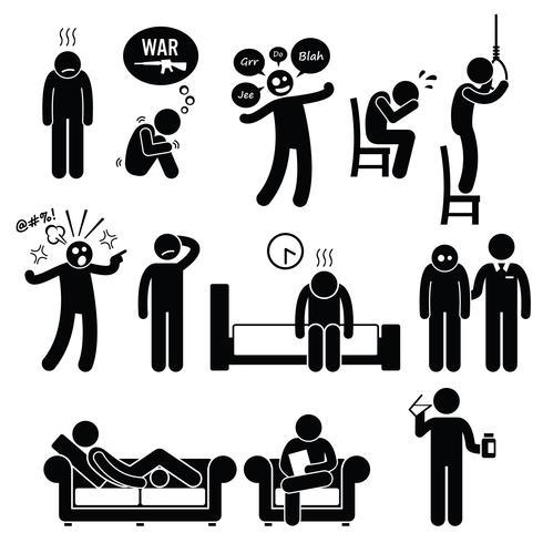 Psykologi Psykiatrisk psykisk störning Problem Psykosjukdom Behandling. vektor