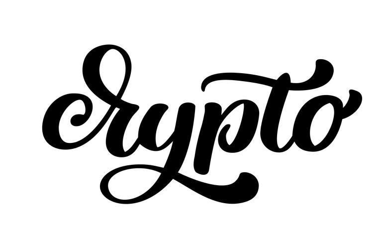 Crypto Hand skriftlig kalligrafi textlogo vektor