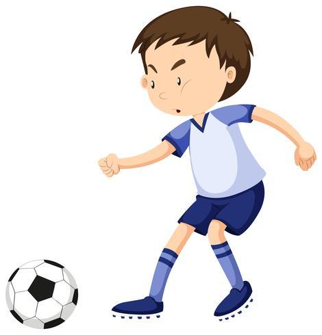 Pojke spelar fotboll ensam vektor