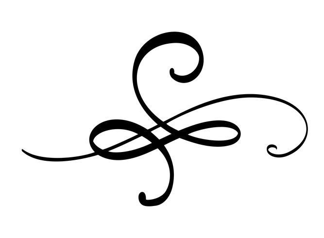 Hand gezeichnete Grenze Flourish Separator Kalligraphiedesignerelemente. Vektorweinlesehochzeitsillustration lokalisiert auf weißem Hintergrund vektor