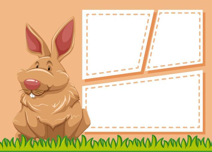 Ein Kaninchen auf leere Notiz vektor