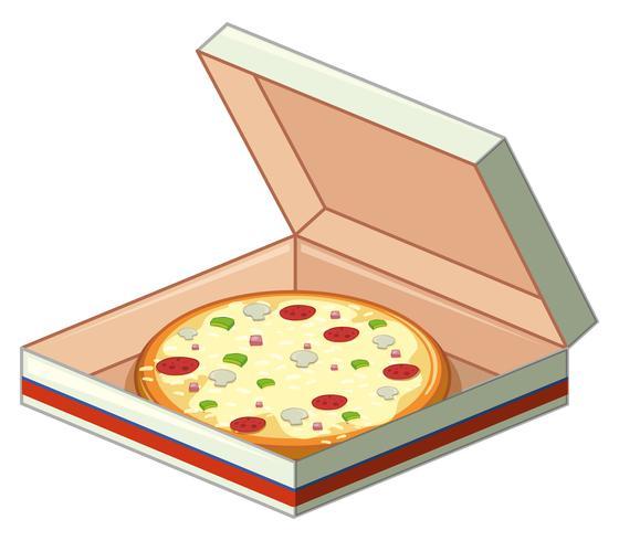 Fack av pizza i papperskorg vektor