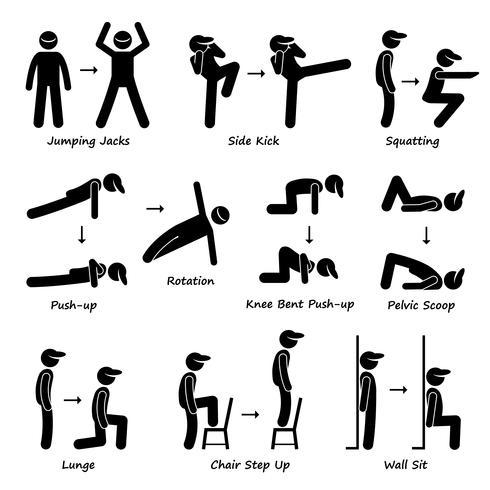 Body Workout Übung Fitnesstraining (Set 1) Strichmännchen Piktogramme. vektor