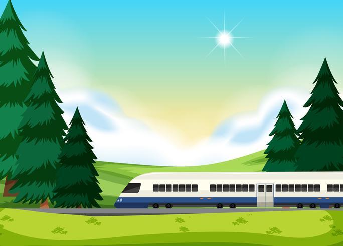 En järnväg till naturen vektor