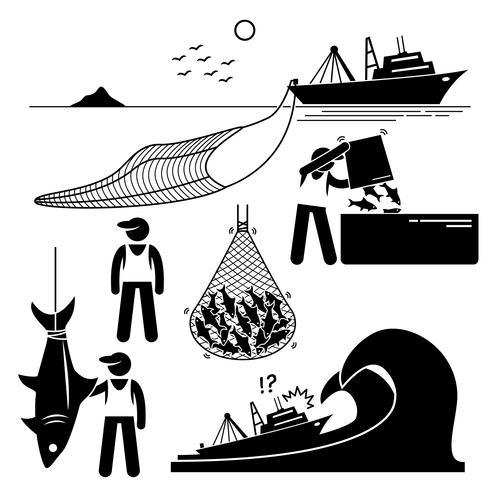 Fiskare som arbetar på fiskeindustrin på industriell nivå på stort båtskepp. vektor