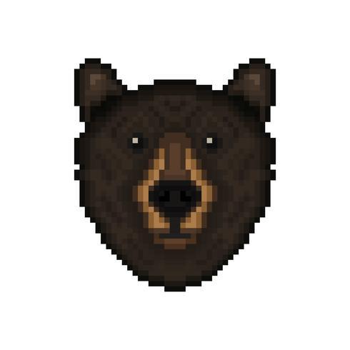 Björnhuvud i pixelartstil. vektor