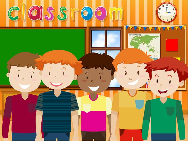Pojkar som står i klassrummet vektor