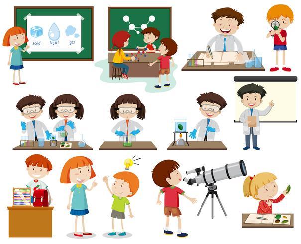 Uppsättning barn lärande vektor