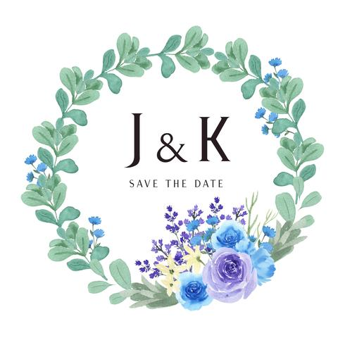 Kranzaquarell blüht handgemalt mit Textrahmengrenze, das üppige Blumenaquarell, das auf weißem Hintergrund lokalisiert wird. Entwerfen Sie Dekor für Karte, speichern Sie das Datum, Hochzeitseinladungskarten, Plakat, Fahne. vektor