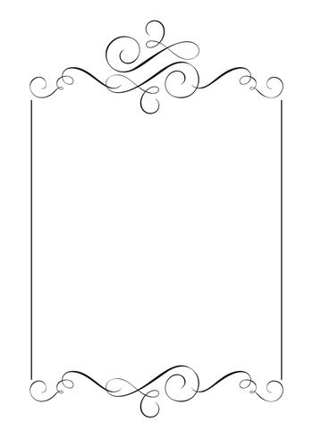 Dekorative Rahmen und Rand Standard Rechteck Hand gezeichnet blühen Separator Kalligraphie Designer-Elemente. Vektorweinlesehochzeitsillustration lokalisiert auf weißem Hintergrund vektor