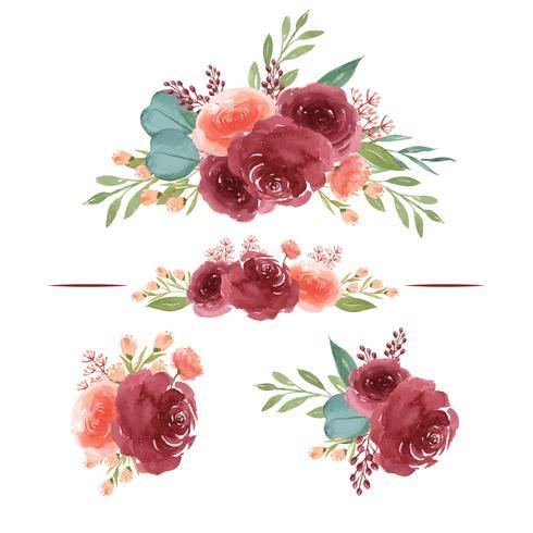 Akvarellbuketter floraler handmålade frodiga blommor lustration vintage stil akvarell isolerad på vit bakgrund. Designdekor för kort, spara datum, bröllopinbjudningskort, affisch, banner vektor