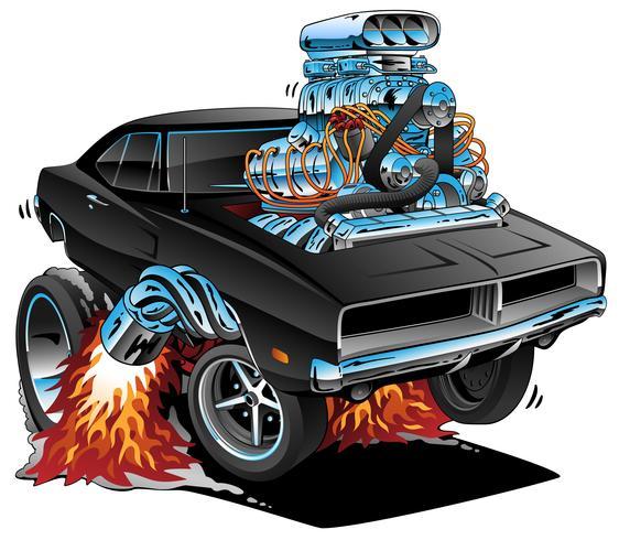 Klassisches Sechziger-Art-Amerikaner-Muskel-Auto, enormer Chrome-Motor, Vektor-Grafik vektor