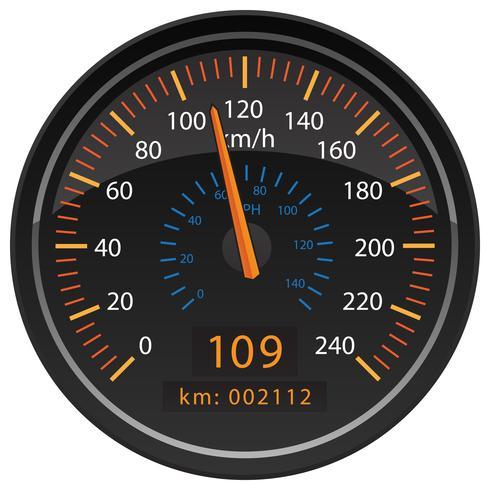 KMH Kilometer per timme Hastighetsmätare Odometer Automotive Dashboard Gauge Vector