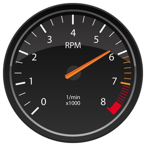 RPM Tachometer Automotive Dashboard Gauge Vector
