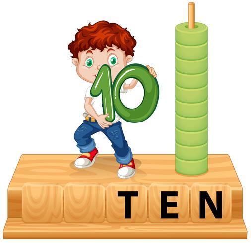 Ein Junge mit der Nummer zehn vektor