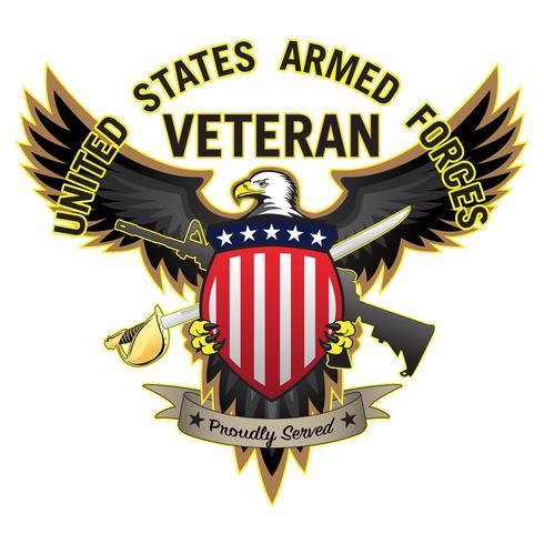 Förenta staterna Armed Forces Veteran Stolt betjänad Skallig örn Vektor illustration