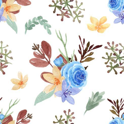 Muster-nahtloses üppiges Aquarellartweinlese-Textilgewebe, Blumenaquarell lokalisiert auf weißem Hintergrund. Entwerfen Sie Blumendekor für Karte, sparen Sie das Datum, Hochzeitseinladungskarten, Plakat, Fahne. vektor