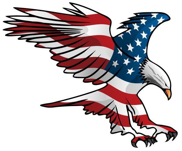 Patriotisk flygande amerikanska flaggan örn vektor illustration