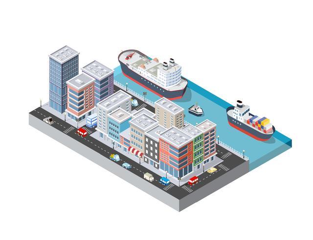 City boulevard med en hamn vektor