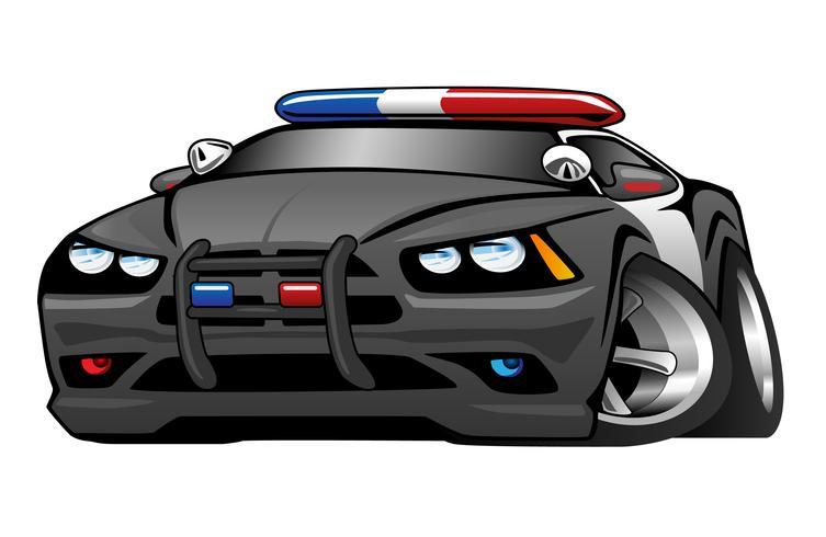 Polizei-Muskel-Auto-Karikatur-Vektor-Illustration vektor