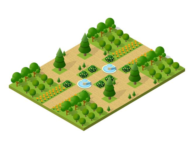 Isometrische kampierende Naturelemente des Baums 3d Wald vektor