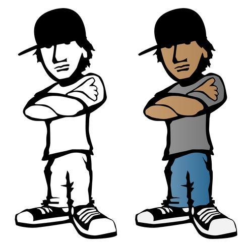 Kühle junge männliche Zeichentrickfilm-Figur-Vektorillustration vektor