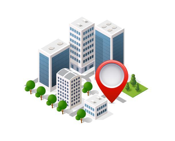 Navigering stadskarta skyltstift i isometrisk vektor